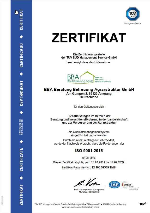 Zertifizierungsurkunde der BBA Beratung Betreuung Agrarstruktur GmbH 2019