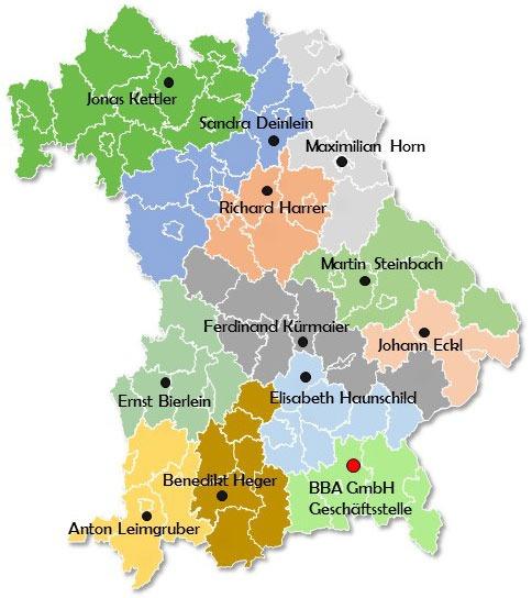 Bayern Karte mit Regionen der BBA Bearbeiter